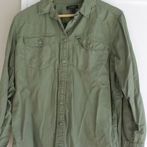 Jcrew Olive Button down Size M